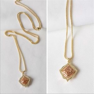 NWT KENDRA SCOTT Kacey Necklace ROSE Gold Filigree